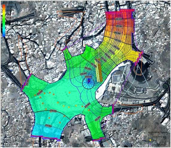 Model dalam peta dari akuifer telaga zam-zam. dibuat oleh sgs (saudi