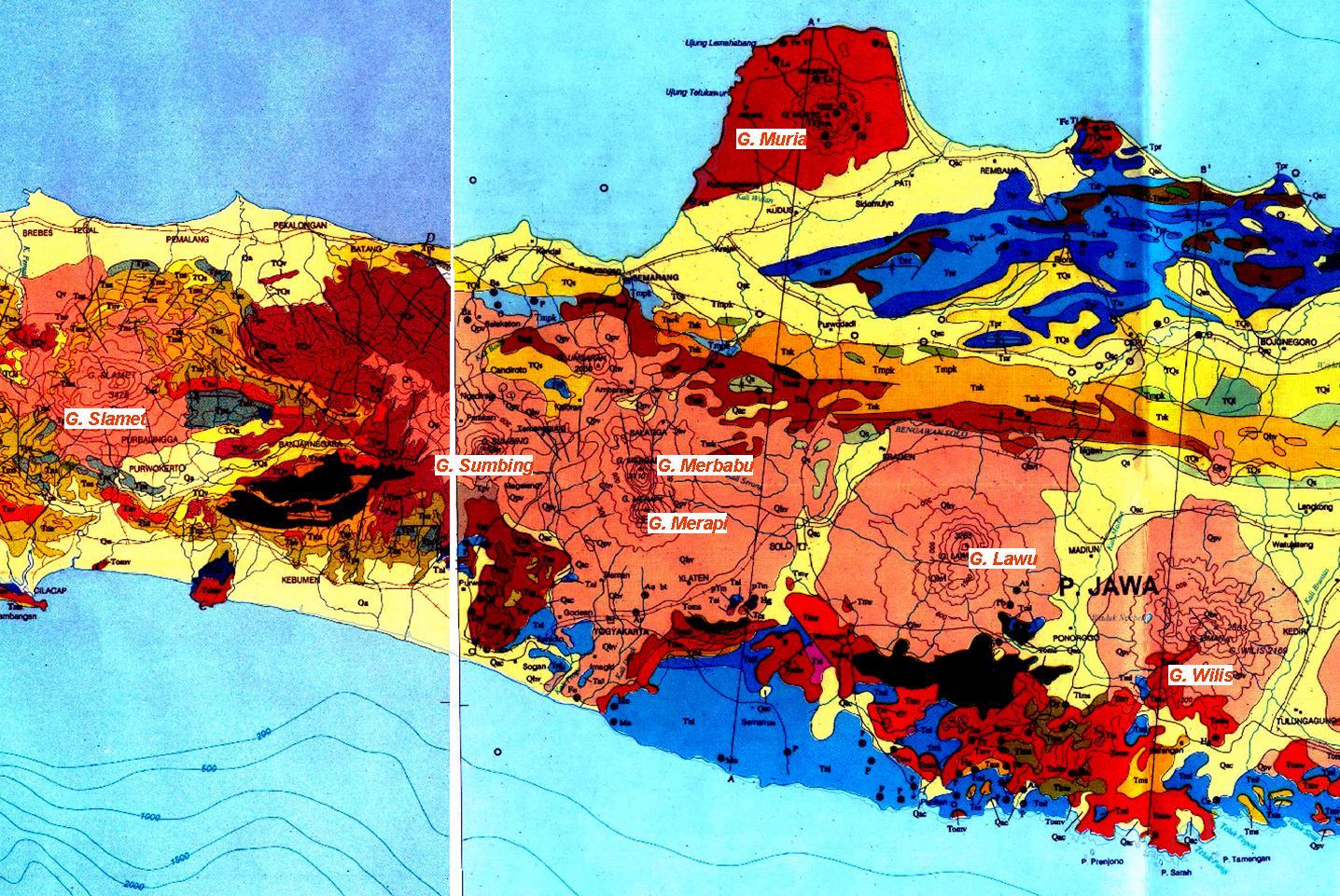 Topografi Batuan Menyusunnya Dongeng Geologi Peta Warna Gambar Pulau Jawa