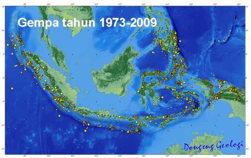 Lokasi dan besarnya gempa di Indonesia (1973-2009)
