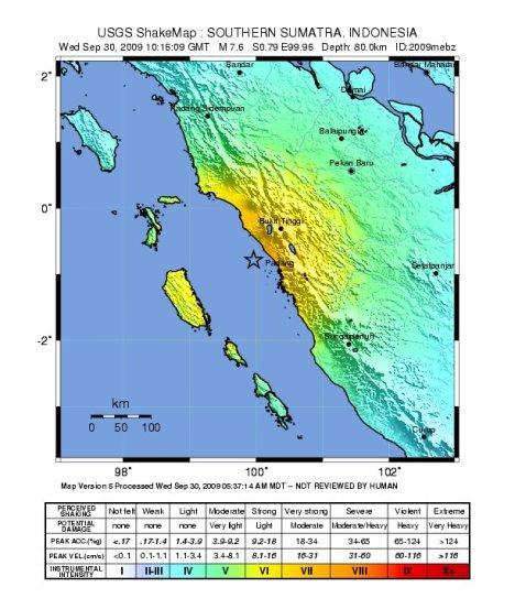 Intensitas goyangan di permukaan hingga MMI skala VI-VII di sekitar episenter.
