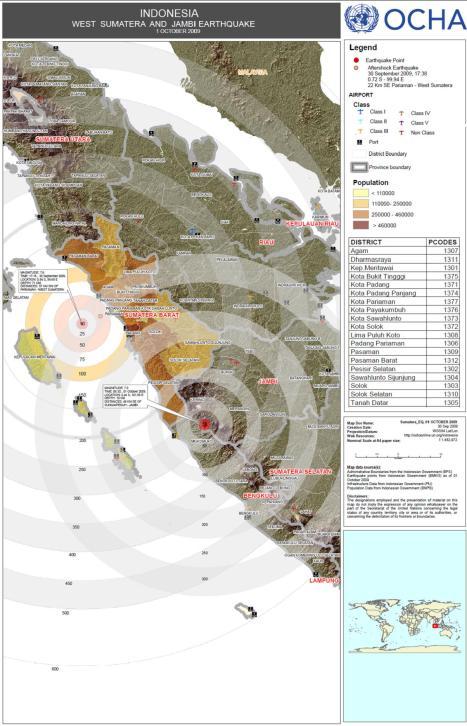 peta populasi dan lokasi gempa Padang Bengkulu