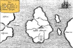 Peta Atlantis, di tengah-tengah Samudera Atlantik. Dari Mundus Subterraneus 1669, yang diterbitkan di Amsterdam. Perhatikan peta ini berorientasi dengan selatan di bagian atas.