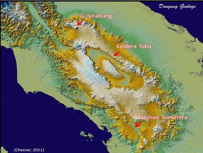 Lokasi Gunung Sinabung dan Kompleks Kaldera Toba