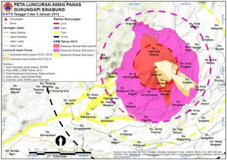 Peta Luncuran Awanpanas SInabung2014