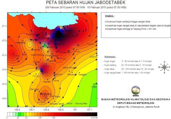 Peta sebaran curah hujan selama 24 Jam (09 Feb 2015 pukul 07.00 WIB - 10 Feb 2015 07.00 WIB)