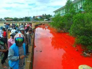 Air tiba-tiba berwarna merah darah !
